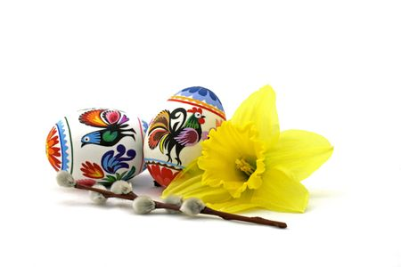 Easter composition on the white background
