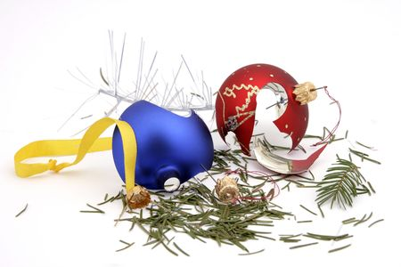 Destroyed remains of glass balls and different Christmas ornaments Stock Photo
