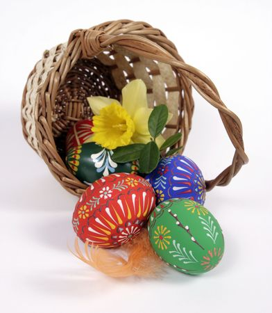 The green Easter basket with eggs