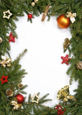 Decorative Christmas bordering the white background