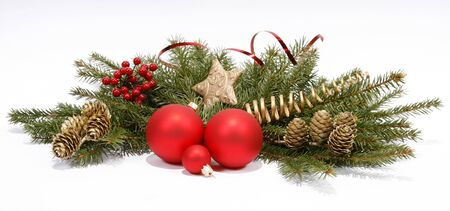 Christmas decoration with the twigs of the spruce and baubles Stock Photo