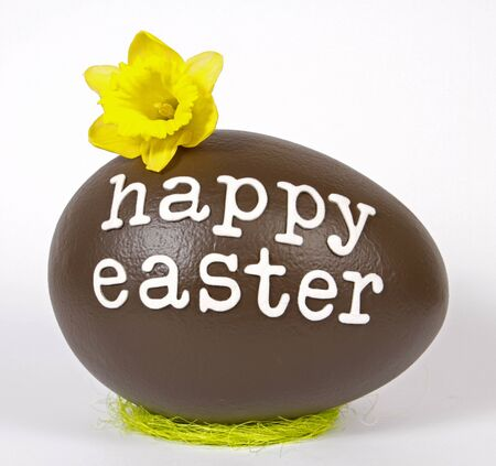 Chocolate easter egg with text  Happy Easter Stock Photo