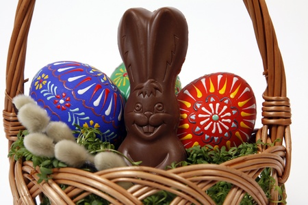 The Easter Basket with Eggs and little hare Stock Photo