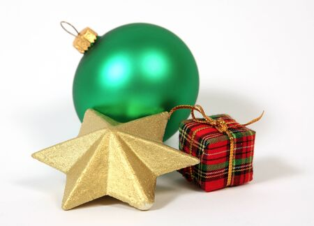Christmas decoration with the golden star and bauble