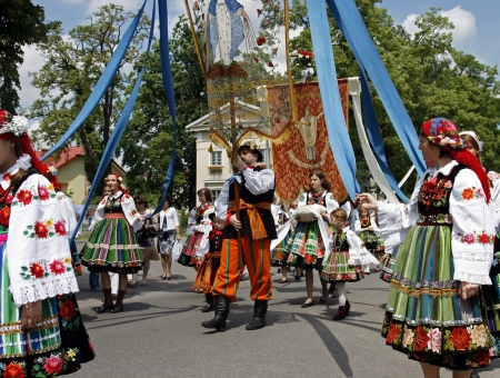 Participants in the Corpus Christi procession, dressed in regional costumes on June 11, 2009 in Lowicz, Poland