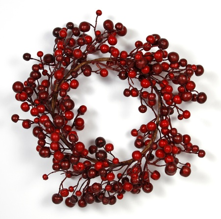 Christmas wreath  from red berries isolated on white background