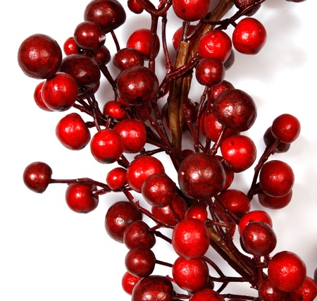 Christmas decoration from red berries isolated on white background Stock Photo