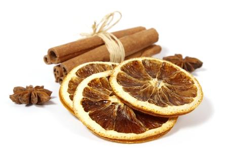 Christmas decoration  orange, anise and cinnamon;  Stock Photo