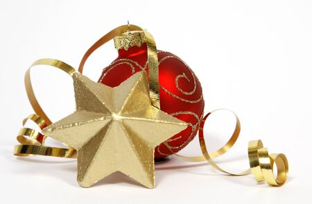 christmas  ornament: Red-golden bauble and golden star