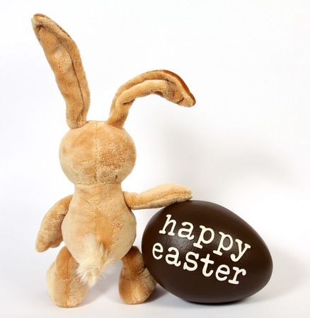 bunny rabbit: The Easter Bunny with Egg with the inscription  Happy Easter