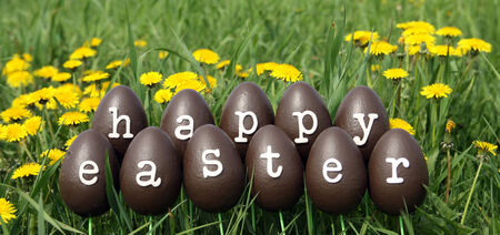 The Easter eggs with letters forming the text Happy Easter photo