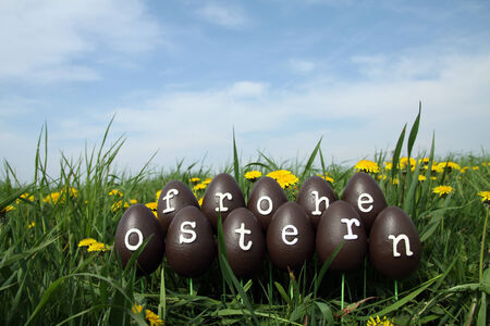 The Easter eggs with letters forming the text Frohe Ostern