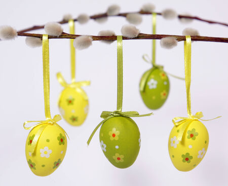 The Easter Eggs hanging from willow twig Stock Photo
