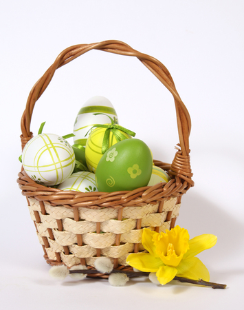 The Easter basket with painted eggs  Stock Photo