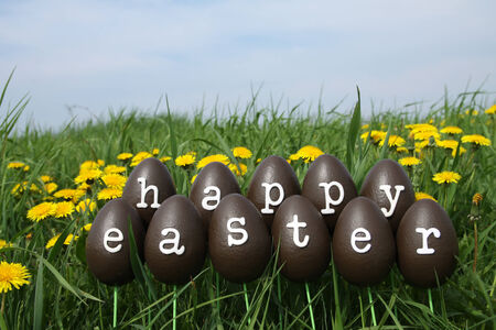 The Easter eggs with letters forming the text Happy Easter