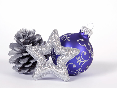 Blue bauble with the silver star Stock Photo