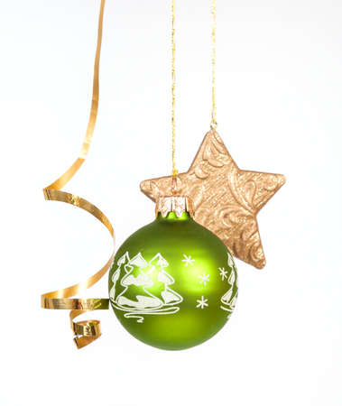 Hanging green glass ball on the white background