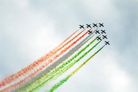 Radom, Poland - August 22, 2015: The italian acrobatic team Frecce Tricolori perform at the Radom Air Show on August 22, 2015 in Radom, Poland