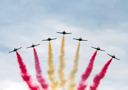 Radom, Poland - August 22, 2015: The spanish acrobatic team Patrulla Aguila perform at the Radom Air Show on August 22, 2015 in Radom, Poland Editorial