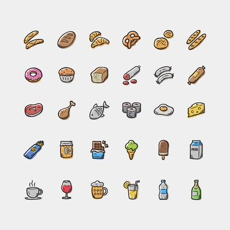 Set of doodle food and drinks icons. Vektoros illusztráció