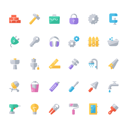 ear protection: Set of flat construction icons.