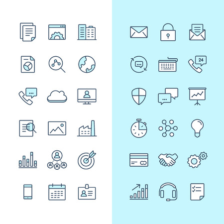 sms payment: Set of blue and white business icons isolated on a light background. Illustration