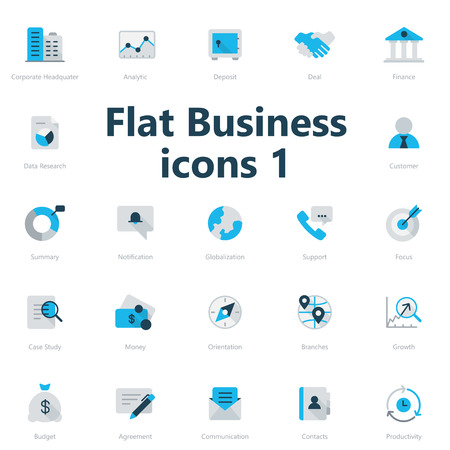 bank branch: Set of blue and gray flat business icons isolated on a light background. Illustration