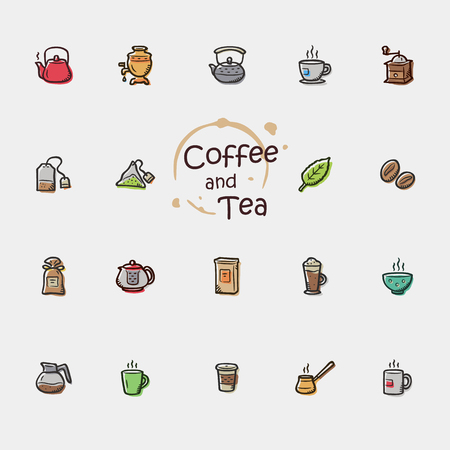 Set of doodle coffee and tea icons.