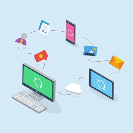 communication devices: 3D flat business cloud communication devices isolated on the light blue background. Illustration