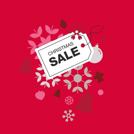 Christmas sale label isolated on the red background.