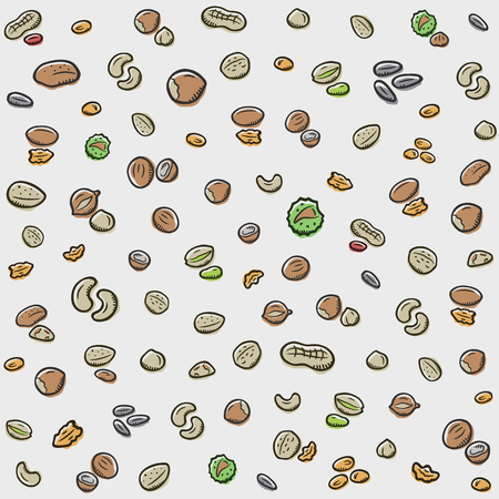 Nuts pattern background. Fits perfectly for print or any healthy food background.