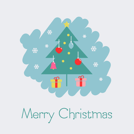 Merry Christmas card with snowflakes and Christmas tree with decorations on the light background.