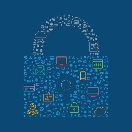 어두운 파란색 배경에 고립 된 비즈니스 보안 기호.
