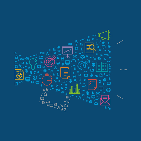 Business marketing symbol isolated on the dark blue background.