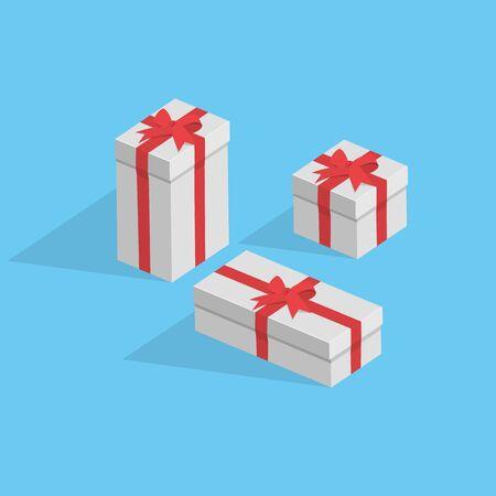 Oggetti di pacchetti regalo isolati su sfondo blu. Facile da modificare. Archivio Fotografico - 68893058