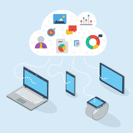 3D flat devices sharing data on cloud. Illustration