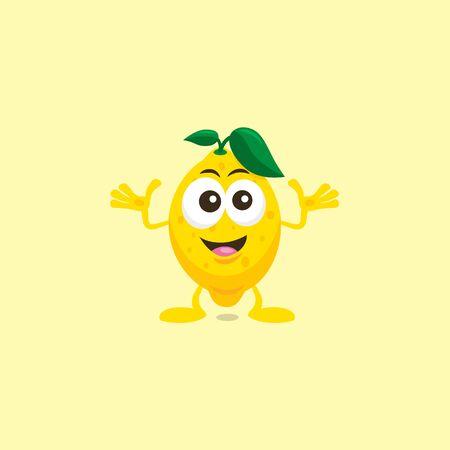 Illustration of cute lemon Decisive mascot isolated on light yellow background.