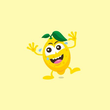 Illustration of cute lemon laughing mascot isolated on light yellow background.