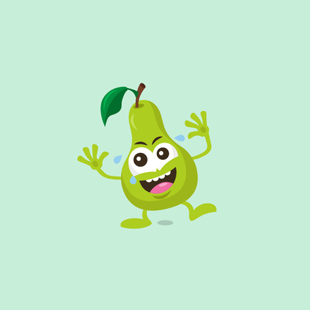 Illustration of cute pear laughing mascot isolated on light green background.