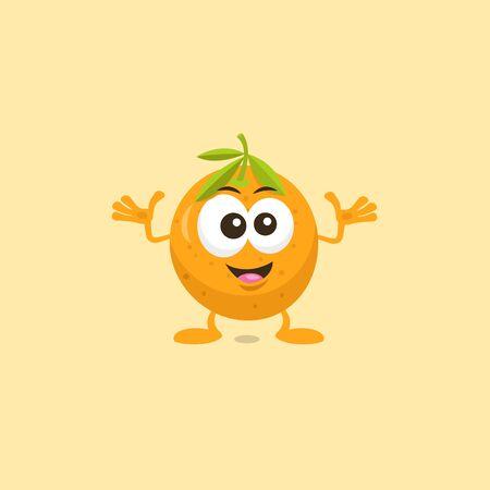 Illustration of cute orange mascot Decisive isolated on light orange background.