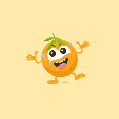 Illustration of cute orange mascot laughing isolated on light orange background.