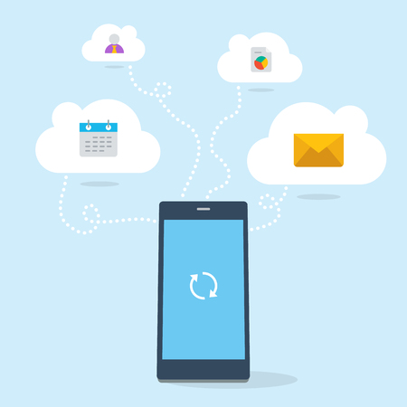 3D flat phone device connects to cloud services.