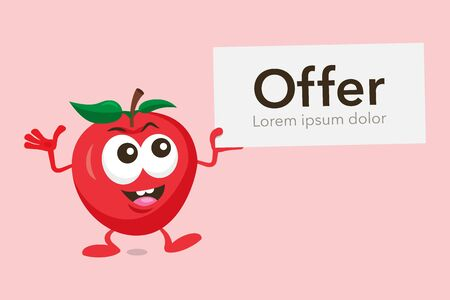 Illustration of cute mascot apple with label offer in His hand. Isolated on light red background. Illusztráció