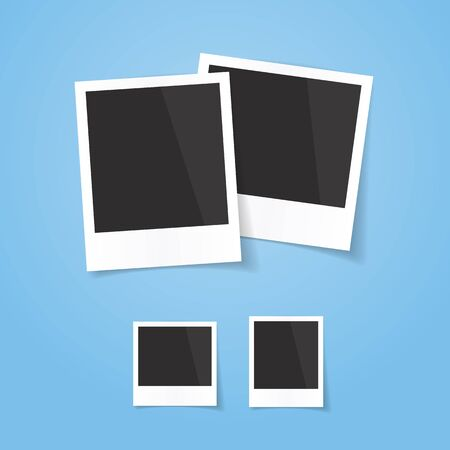 Realistic looking photo frames, isolated on blue background, vector illustration. Easy to use for your design with transparent shadows. Çizim