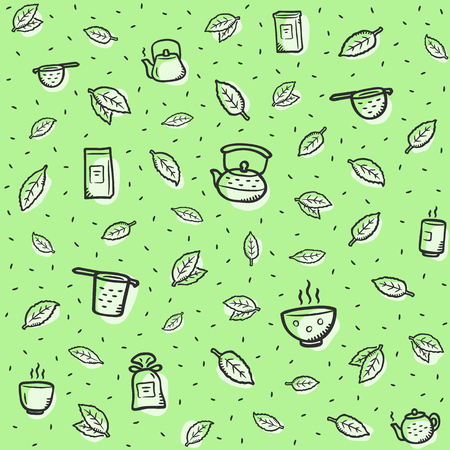 Green tea pattern background theme. Fits perfectly for print or any healthy drink background.