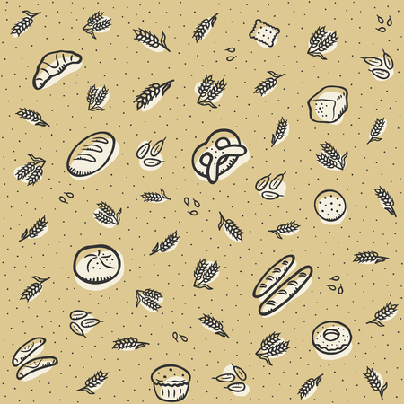 Brown pattern background bakery theme. Fits perfectly for print or any tasty food background.