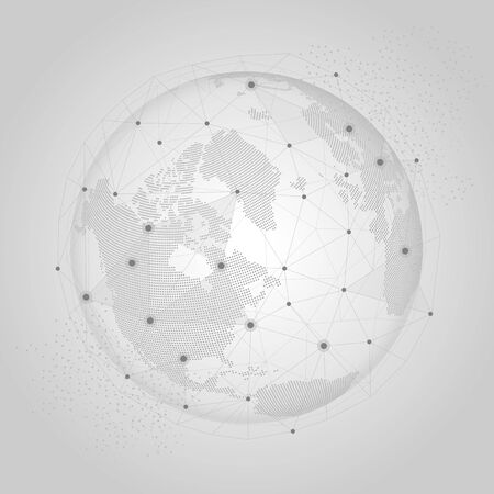 World globe with network connections global concept on light gray background. 向量圖像