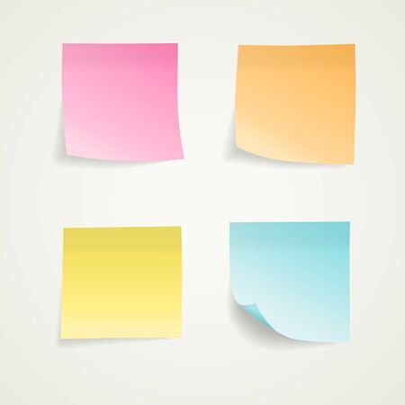 Realistic looking colorful sticky notes. Easy to use for your design with transparent shadows.