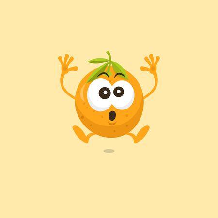 Illustration of cute orange mascot scared isolated on light orange background.