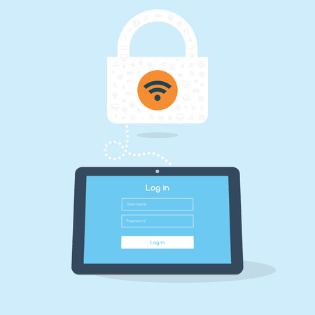 hotspot: 3D flat tablet device tries to log in and secured wifi hotspot. Illustration